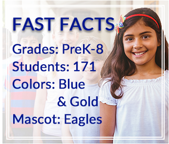 Fast Facts: Grades: PreK-8, Students: 183, Colors: Blue & Gold, Mascot: Eagles