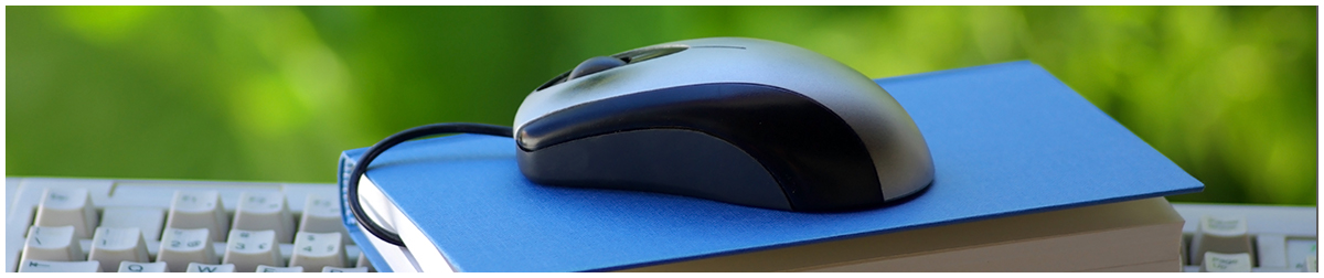 Computer mouse sitting on top of a book on top of a computer keyboard