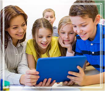 teacher and students on tablet