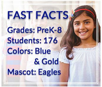 Fast Facts: Grades: PreK-8, Students: 176, Colors: Blue & Gold, Mascot: Eagles