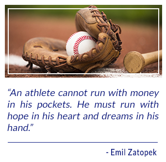 An athlete cannot run with money in his pockets. He must run with hope in his heart and dreams in his hand. - Emil Zatopek