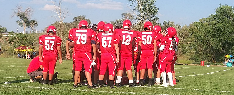 Football team in a huddle on the field