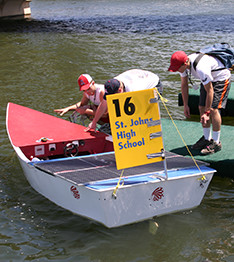 Solar Boat and Students