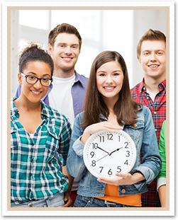 students with clock