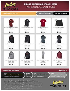 Tulare Union High School Staff Online Merchandise Form