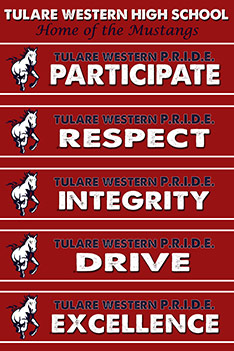 Mustang Pride: Participate, Respect, Integrity, Drive, and Excellence.