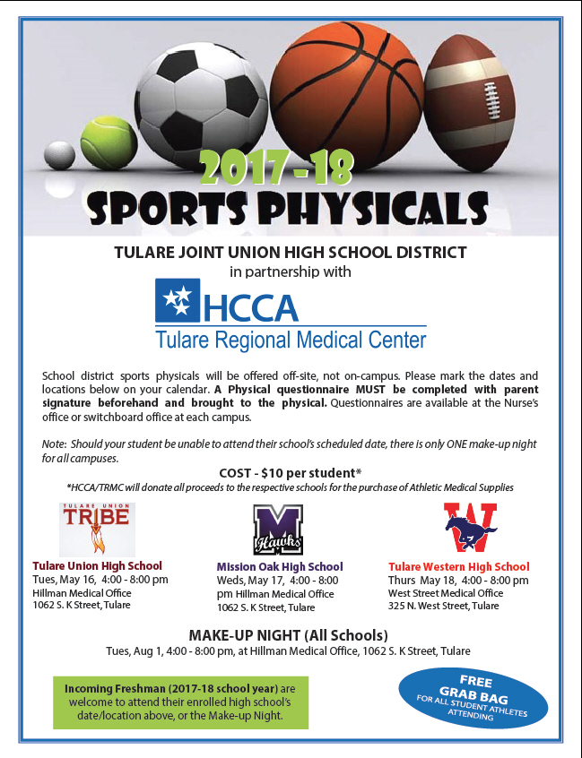 2017-2018 Sports Physicals Event Flyer
