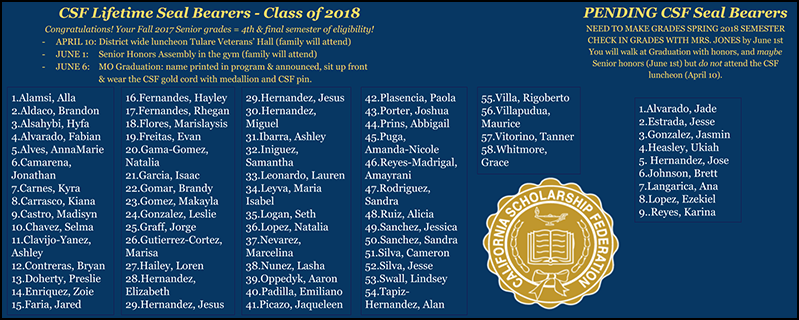 CSF Lifetime Seal Bearers- Class of 2018