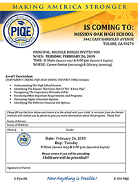 Parent Institute for Quality Education is Coming to Mission Oak High School