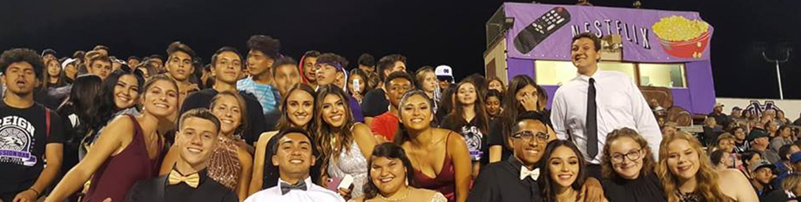 Group of spirited students at a football game
