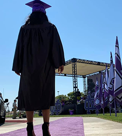 Female student preparing to walk the purple carpet for graduation