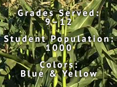 Grades served: 9-12, student population: 1000, colors: blue & yellow