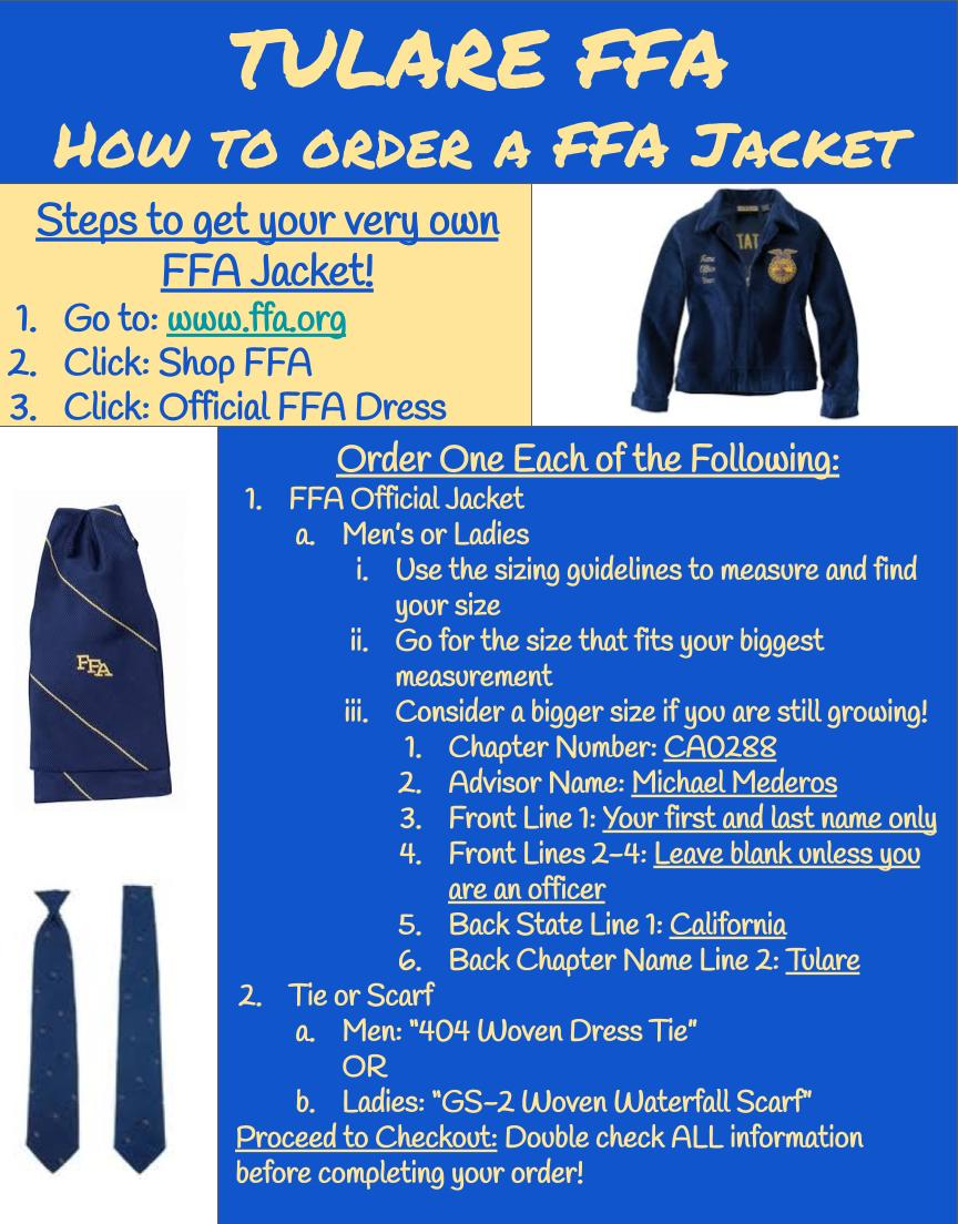 How to order an FFA jacket
