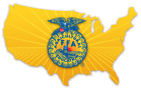 National FFA logo over image of the United States