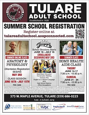 Tulare Adult School Summer Registration Flyer