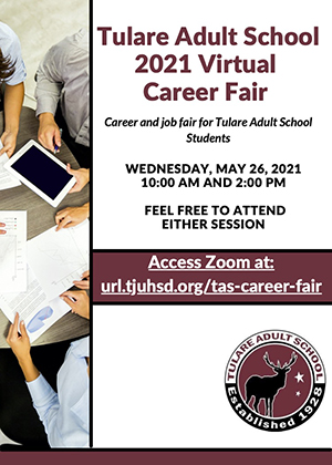 Tulare Adult School Virtual Career Fair Flyer