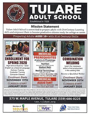 Enrollment flyer for Spring 2020