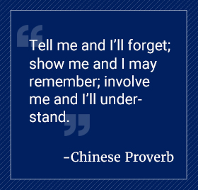 Tell me and I'll forget; show me and I may remember; involve me and I'll understand. Chinese Proverb.