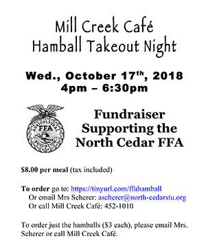 Mill Creek Cafe Hamball Takeout Night
