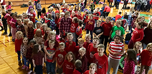 students wearing red shirts for Red Ribbon Week