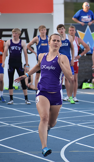 Grace running in the 200 meter dash