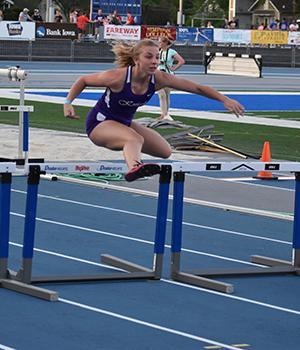Andrea running the shuttle hurdle