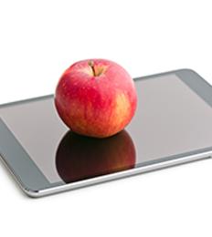 apple on tablet