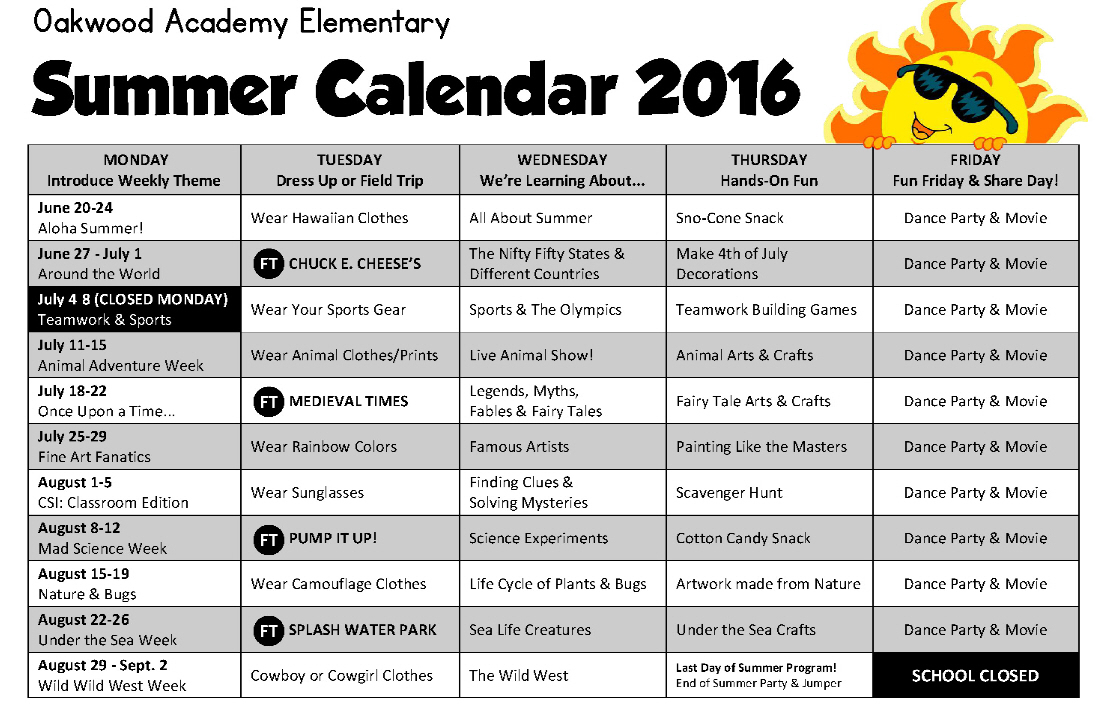 Summer Schedules at Oakwood Academy Schools