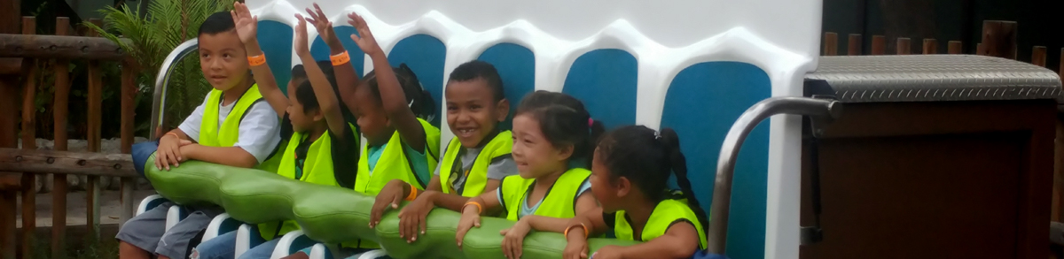 Students on a theme park ride