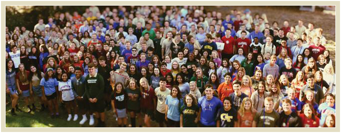 Aerial view of a large group of smiling students