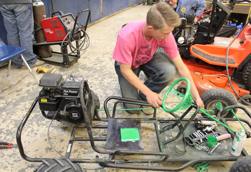 Student with go kart