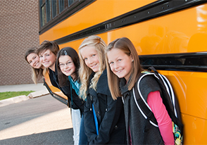 students at bus