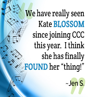 We have really seen Kate blossom since joining CCC this year. I think she has finally found her thing. - Jen S.