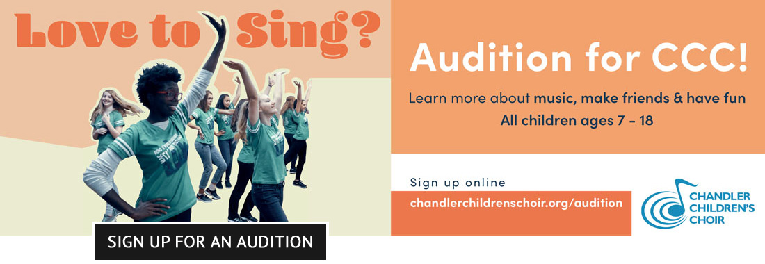 Love to sing? Audition for CCC! Learn more about music, make friends & have fun - All children ages 7-18 - In-person & hybrid participation available. Sign up online.