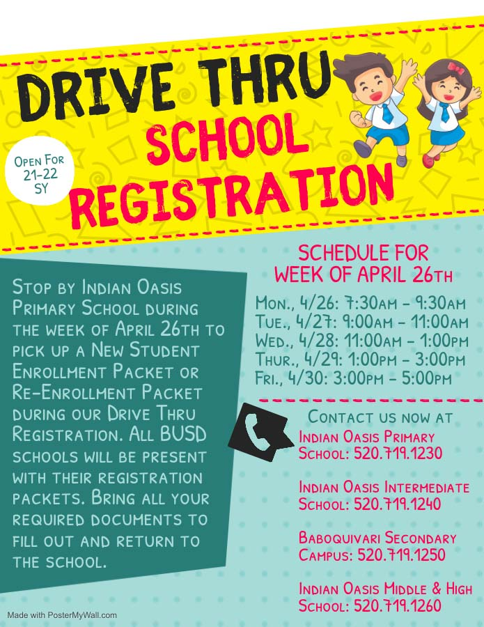 Drive Thru school registration flyer