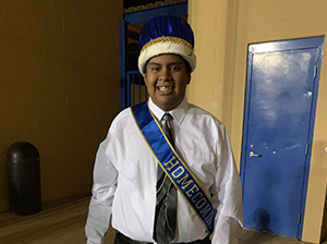 Smiling homecoming king