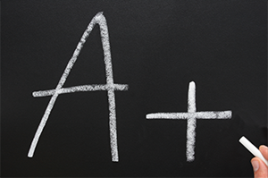 A+ written on a chalkboard