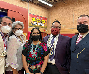 Students getting onto school buses