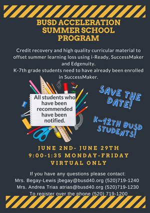 BUSD Acceleration Summer School Program flyer