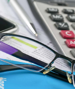 glasses and calculator