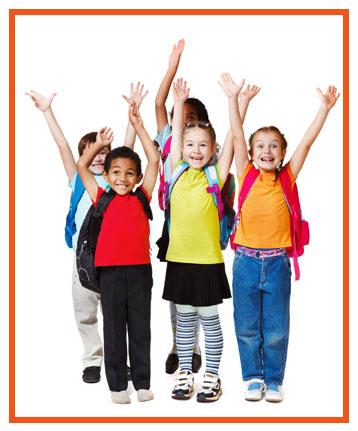 Children waving their arms
