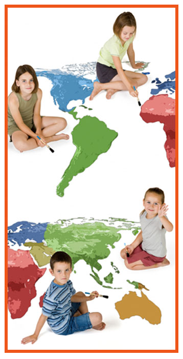 Children painting map of Earth
