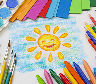 Sun and sky art with pencils