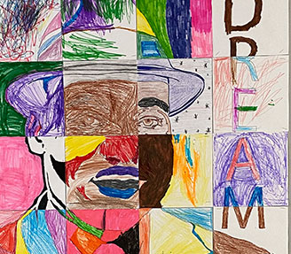 Three fifth graders posing for picture after receiving an award