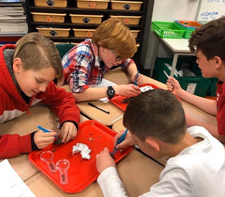 Elementary boy student wearing science googles