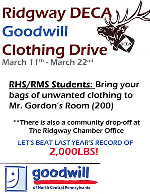 Ridgway DECA Goodwill Clothing Drive