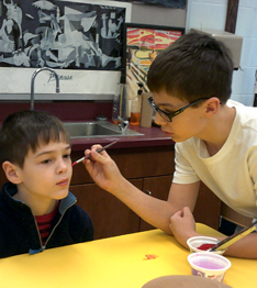 Students face painting