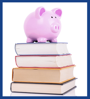 Piggy bank on top of a stack of books