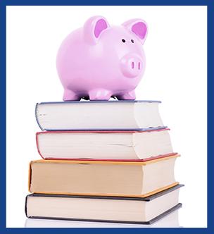 Piggybank and Books