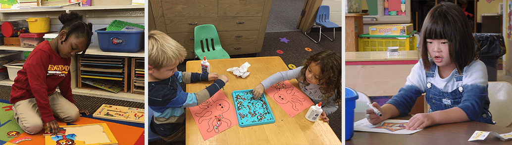 Kindergarten students in various classroom activities